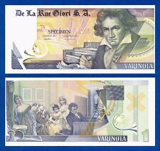 De La Rue Giori Varinota Beethoven Color Trial #10 - Specimen Test Note Unc