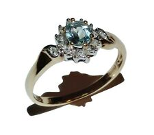 9ct Yellow Gold, Light Blue Gem & Diamond Cluster Ring - UK Size: N