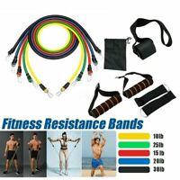 Resistance Bands Set Yoga Pilates Latex Fitness Tube Workout Band 11PCS Neu
