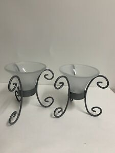 CANDLE HOLDERS Frosted Glass And Gray Metal Holders