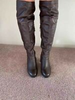 WOMENS KNEE HIGH DARK BROWN LEATHER BOOTS SIZE US 8