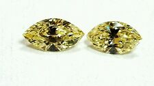 Matching Pair 1.19 CTW Marquise Shape EX Cut Diamonds Fancy Yellow Color VVS2