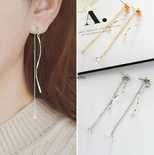 Fashion Korean Women Jewelry Crystal Link Chain Drop Dangle Long Earrings Gift