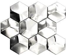 Mosaik Hexagonal 3D Stahl matt Fliesenspiegel Art:129-HXM20SD | 10 Matten
