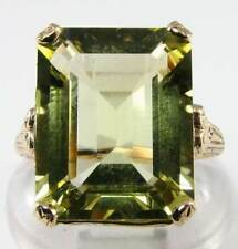 HUGE 9K GOLD 15mm x 12mm NATURAL LEMON QUARTZ ART DECO INS RING FREE SIZE