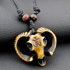 Tibetan Style Skull Pendant Yak Bone Necklace