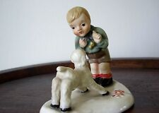 Keramik Figur 50 iger Jahre Junge mit Lamm Holland Keramik Venlo D.S.J