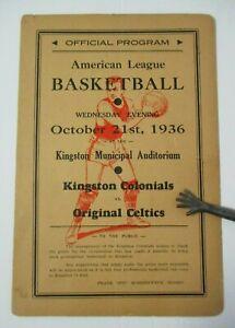 1936 AMERICAN BASKETBALL LEAGUE Program Kingston Colonials, Original Celtics ABL