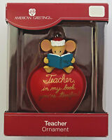 """Teacher mouse on apple Christmas ornament 3"""" American Greetings in box"""