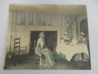 1910 WALLACE NUTTING HAND TINTED PHOTOGRAPH INTERIOR LADIES HAVING TEA BY HEARTH