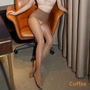 Ladies Seamless High Waist Shiny Glossy Pantyhose Sheer Stockings Elastic Tights