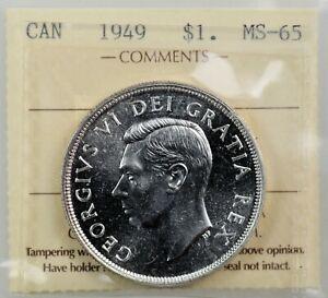 CANADA: King George VI 1949 Silver Dollar ; ICCS MS-65. Gem Brilliant White.