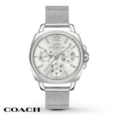 Coach Silver Stainless Mesh Strap Crystal Boyfriend Watch 14502489