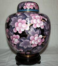 "9"" Chinese Beijing Cloisonne Cremation Urn Lavender Grapes - New"