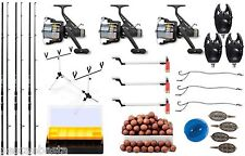 kit carpfishing 3 canne 3 mulinelli rod pod scimmiette sensori boilies + omaggio