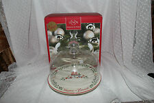 Lenox Christmas/Holidays Pedestal Cake Platter with Clear Glass Dome Lid New