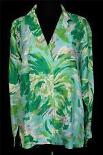 Plus Talla 44 VINTAGE 597ms Estampado Splash EN VERDES, blanco y lavanda blusa