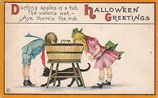 Halloween Greetings, black cat bobbing for appels boy girl 7804