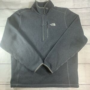 The North Face Large Quarter Zip Fleece Sweater Mens Heather Blue Pullover