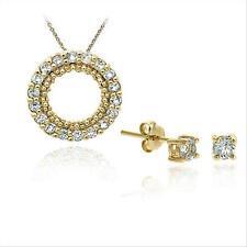 18K Gold/Sterling Silver Blue Topaz Pendant Earring Set
