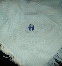 Deluxe Baby Shawl Blue With Embroidered Feet Design, newborn, perfect gift