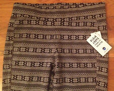 NWT KAVU Ladies Leggings Pants WINTER SNOWFLAKE Black Womens L