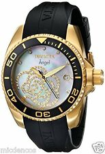 Women's Invicta Angel Collection Cubic Zirconia-Accented Watch W/Black PU Band