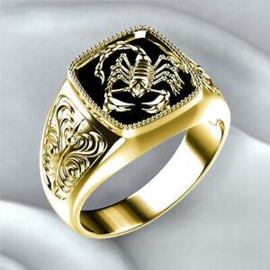Fashion Men Retro 18K Gold Ring Black Enamel Creative Scorpion Punk Jewelry Gift