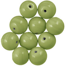 Handmade Shiny Light Green Round Glass Beads 14mm Pack of 10 (A41/1)