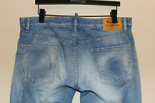 Dsquared2 S74LA0604 Slim Distressed Ripped Denim Blue Jeans Designer 52 / 36x32
