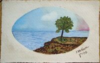 Original Art/Hand-Painted 1918 Postcard: Tree & Seaside, Artist-Signed