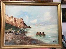 C Picolli peinture tableau HST bord de mer Méditerranée côte d'Azur ou Italie ?