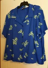 Ladies Size 26/28 Fashion Bug blue Blouse Top Shirt with butterflies