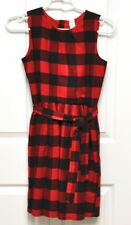 Carters Zip Up Back, Tie Dress, Buffalo Check, Red/Black, Jumper Size 14