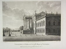 1779 DATED PRINT ~ WENTWORTH HOUSE ~ YORKSHIRE ~ SEAT OF MARQUIS OF ROCKINGHAM