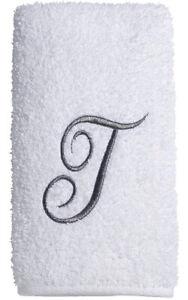 "Avanti Towel Set WHT/SIL PRE SCRIPT MONOGRAM ""T"" 3PC (B/H/FT) by Avanti Linens"