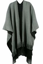 Pink Queen Women Winter Reversible Cashmere Poncho Capes Shawl Cardigan Coat