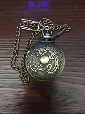 """Cool Dragon Pocket Watch With 18"""" Chain With Belt Clasp"""