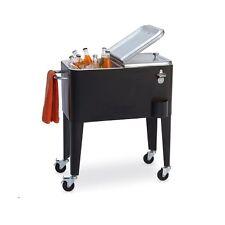 Sunjoy Rolling Retro Cooler - 60 Quart Capacity - Steel Construction