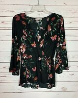Chloe & Katie Women's M Medium Black Floral Long Sleeve Fall Top Blouse Shirt