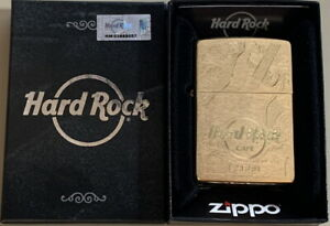 Hard Rock Cafe LISBON 2017 Gold Etched Guitar ZIPPO Lighter New Box with Sticker