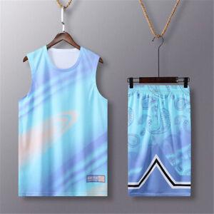 Mens Basketball Outfit 2-Piece Set Jersey Shorts Sweatsuit Training Sets