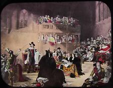 Glass Magic Lantern Slide THE TRIAL OF KING CHARLES I C1890 DRAWING ROYALTY