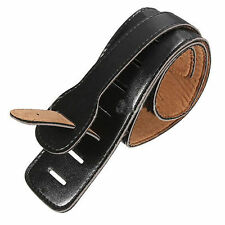 Adjustable Soft Black PU Leather Thick Strap For Electric Acoustic Guitar Bass