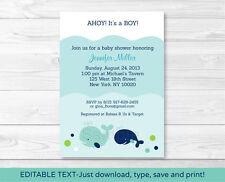 Little Blue Whale Nautical Printable Baby Shower Invitation Editable PDF