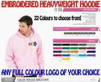 Heavyweight Personalised Uniform Workwear Hoodie. FREECOLOUR EMBROIDERED LOGO!