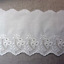 """Broderie Anglaise Bear Cotton Eyelet Lace Trim Floral 17cm(6.7"""") Beige 1yard F/S"""