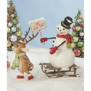 Bethany Lowe Christmas OH WHAT FUN Snowman w/Reindeer #TD8546 Free Shipping