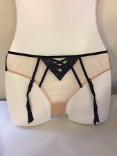 Victoria's Secret FAUX LEATHER & MESH Cheekini with garters Black/Nude Size S