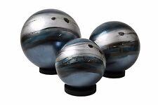 Set x 3 Lacquerware Decorative Ball Ornaments on Black Stand - Blue
